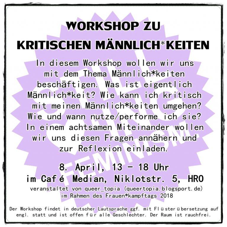 Workshop zu kritischen Männlich*keiten vom 8.4.2018